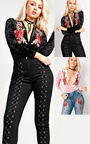 Rosilee Velvet Embroidered Bodysuit  Thumbnail