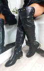 Kaylie Gold Stud Knee High Boots Thumbnail
