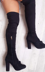 Corla Faux Suede Bow Front Knee High Boots Thumbnail