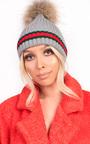 Emile Faux Fur Stripe Pom pom Hat Thumbnail