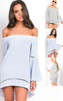 Lolita Bardot Stripe Bell Sleeve Top  Thumbnail