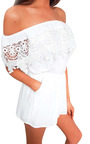 Justina Off Shoulder Crochet Playsuit Thumbnail