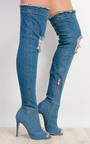Ciara Denim Thigh High Boots  Thumbnail