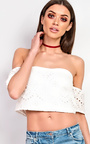 Rezme Bardot Crochet Crop Top Thumbnail