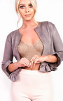 Sophia Collarless Faux Suede Frill Jacket Thumbnail