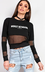 Klara Slogan Mesh Crop Sweater Thumbnail