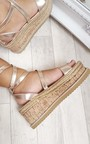 Erynn Cork Strappy Rose Gold Wedges Thumbnail