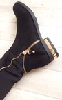 Samia Faux Suede Gold Zip Stretch Knee High Boots Thumbnail
