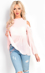 Inessa Cut Out Pleated Frill Blouse Thumbnail