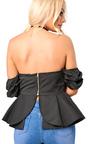 Isabelle Bardot Ruffle Sleeve Peplum Top  Thumbnail