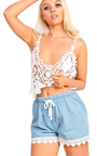 Dila Denim Crochet Shorts Thumbnail