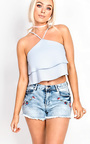 Alena High Neck Frill Crop Top Thumbnail