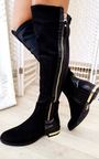 Tai Faux Suede Gold Bar Knee High Boots Thumbnail