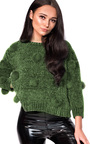 Jesse Faux Fur Pom Pom Knitted Jumper Thumbnail