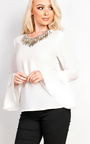 Lemy Flared Sleeve With Embellished Collar Blouse Thumbnail