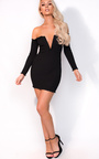 Nicky Long Sleeve Bardot Luxe Bandage Dress Thumbnail