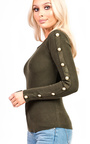 Lily Thin Knit Button Sleeve Stretch Jumper Thumbnail