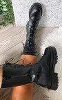 Abbie Lace Up Biker Boots Thumbnail