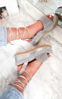 Adalyn Metallic Diamante Lace Up Wedge Sandal Thumbnail