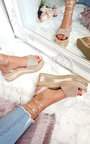 Adalyn Metallic Diamante Lace Up Wedge Sandal Thumbnail