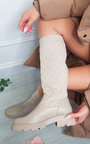 Adele Knee High Padded Texture Boot Thumbnail