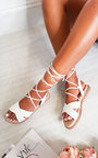 Aimee Faux Leather Crossover Sandals Thumbnail