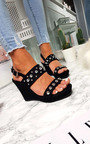 Alana Faux Suede Studded Wedges Thumbnail