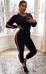 Alexa Striped Velour Tracksuit Thumbnail