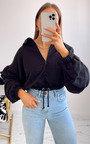 Alexa Zip Up Oversized Cropped Sweatshirt Thumbnail