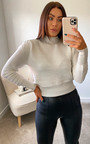 Alice High Neck Ribbed Jumper with Button Detail Thumbnail