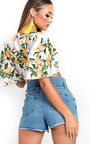 Alicia Tie Flared Sleeved Satin Crop Top Thumbnail