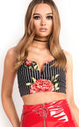 Aliya Floral Striped Crop Top Thumbnail