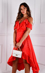 Allie Hi-Lo Ruffle Hem Cold Shoulder Midi Dress Thumbnail
