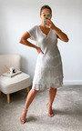 Alma Ruffle Hem Printed Midi Dress Thumbnail