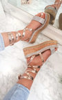 Amalia Diamante Cork Strappy Wedges Thumbnail