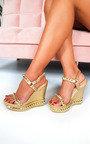 Amaya Metallic Studded Strap Wedged Heels Thumbnail