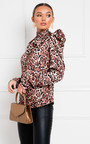 Amberly Puff Sleeve Patterned Top Thumbnail