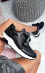 Amila Chunky Sole Glitter Sport Trainer in Black  Thumbnail
