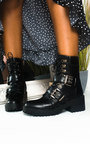 Andrea Lace Up Chunky Buckle Ankle Boots Thumbnail
