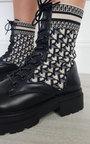 Andrea Printed Lace Up Mid Calf Sock Boots Thumbnail