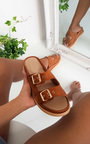 Ari Double Buckle Wedged Sandals Thumbnail