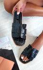 Aria Faux Leather Slip On Sandals Thumbnail
