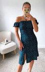 Aria Off Shoulder Floral Split Hem Midi Dress Thumbnail