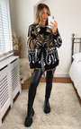 Ariel Oversized Knitted Cardigan with Belt and Fringe Detail Thumbnail