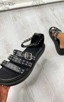 Arielle Studded Chunky Buckle Fastening Sandals Thumbnail