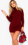 Arina High Necked Ribbed Bodycon Dress  Thumbnail