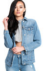 Arlo Embroidered Sequin Long-lined Denim Jacket Thumbnail