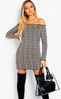 Asha Off Shoulder Printed Bodycon Dress Thumbnail