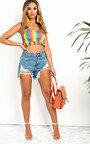 Asha Stripe Frill Crop Top Thumbnail