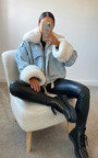 Aster Faux Fur Denim Bomber Jacket Thumbnail